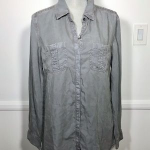 SPLENDID Gray/Lead Button Down Embroidered Shirt S